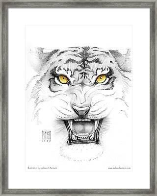 Golden Tiger Eyes Framed Print by Melissa A Benson