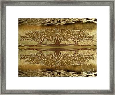 Golden Trees Reflection Framed Print
