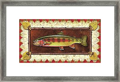 Golden Trout Lodge Framed Print by JQ Licensing