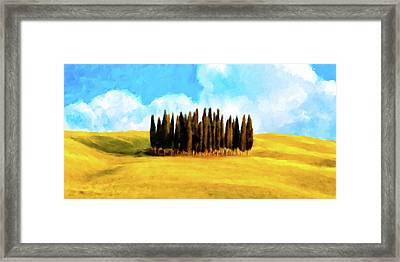 Framed Print featuring the mixed media Golden Tuscan Landscape Artwork by Mark Tisdale