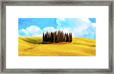 Golden Tuscan Landscape Artwork Framed Print