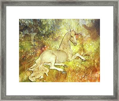 Golden Unicorn Dreams Framed Print