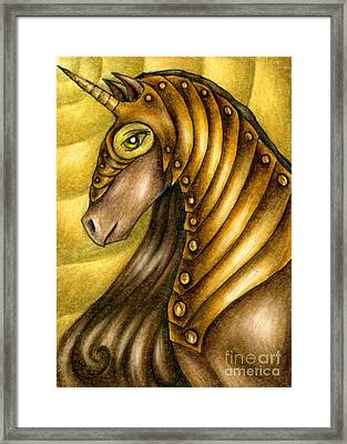 Golden Unicorn Warrior Art Framed Print