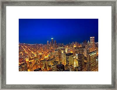 Golden Valleys - Chicago Aerial View At Dusk Framed Print by Mark E Tisdale