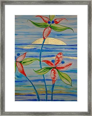 Framed Print featuring the painting Golden Waikiki Sunset by Erika Swartzkopf