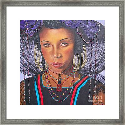 Gracious Golden Wodaabe Girl           From The Attitude Girls  Framed Print