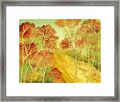 Golden Woods Framed Print