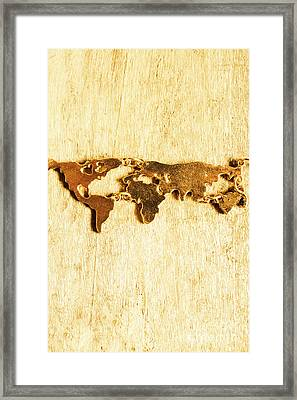 Golden World Continents Framed Print by Jorgo Photography - Wall Art Gallery