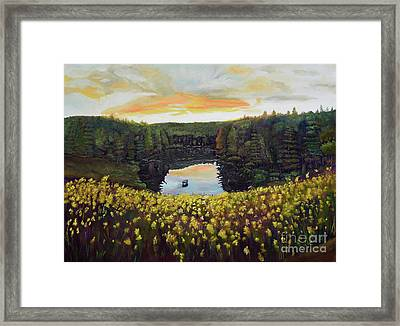 Goldenrods On Davenport Lake-ellijay, Ga  Framed Print