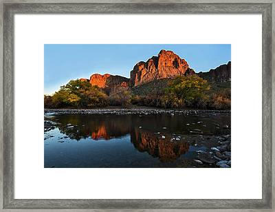 Framed Print featuring the photograph Goldfield Mountains On The Salt River by Dave Dilli