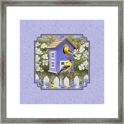 Goldfinch Birdhouse Lavender Framed Print