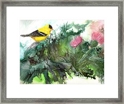 Framed Print featuring the painting Goldfinch by Sherry Shipley