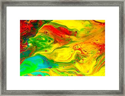 Goldfish  - Abstract Colorful Mixed Media Painting Framed Print by Modern Art Prints