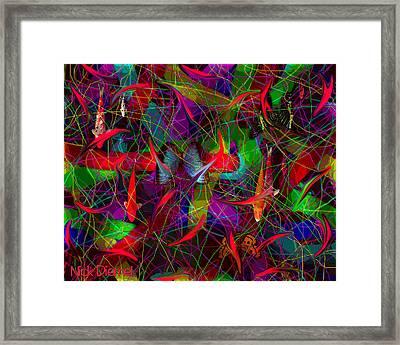 Goldfish And Butterflies Framed Print by Nick Diemel