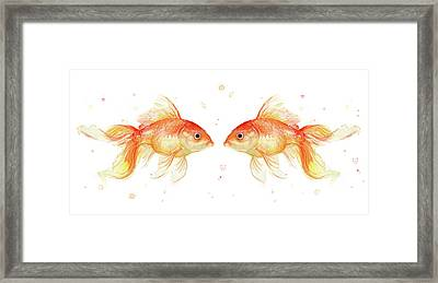 Goldfish Love Watercolor Framed Print by Olga Shvartsur