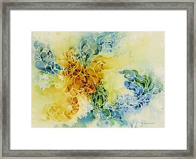 Goldfish-meeting-under-water Framed Print by Nancy Newman
