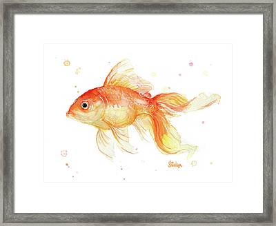 Goldfish Painting Watercolor Framed Print by Olga Shvartsur