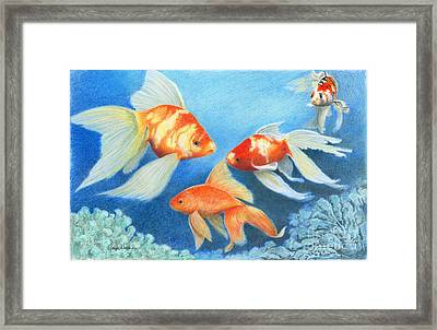 Framed Print featuring the drawing Goldfish Tank by Phyllis Howard
