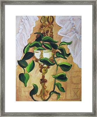 Goldnet Pathos And White Curtain Framed Print by Suzanne  Marie Leclair