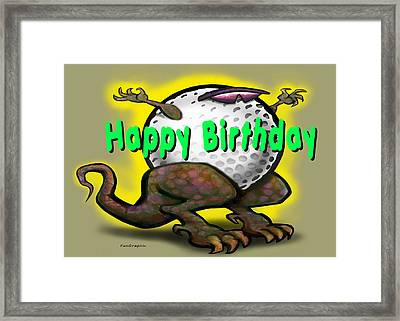 Golf A Saurus Birthday Framed Print by Kevin Middleton