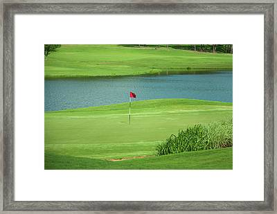 Golf Approaching The Green Framed Print by Chris Flees