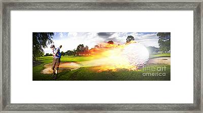 Golf Ball On Fire Framed Print