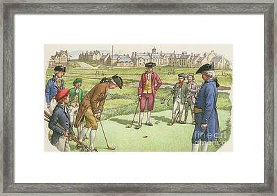 Golf Being Played In St Andrews In The 18th Century Framed Print