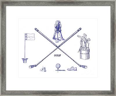 Golf Blueprint Framed Print by Jon Neidert