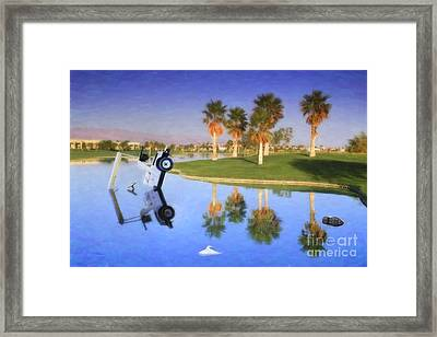 Framed Print featuring the photograph Golf Cart Stuck In Water by David Zanzinger