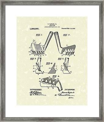 Golf Club 1914 Patent Art Framed Print by Prior Art Design