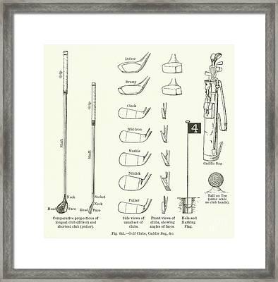 Golf Clubs, Caddie Bag, Etc  Framed Print by English School