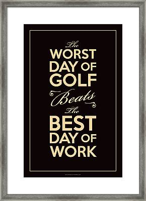 Golf Day Quote Framed Print by Mark Kingsley Brown