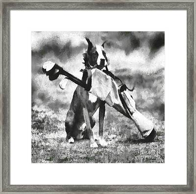 Golf Dog Framed Print by Elizabeth Coats