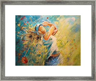 Golf Passion Framed Print by Miki De Goodaboom