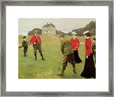 Golf Players At Copenhagen Golf Club  Framed Print by Paul Fischer