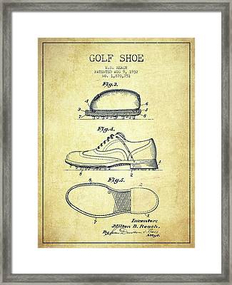 Golf Shoe Patent Drawing From 1931 - Vintage Framed Print