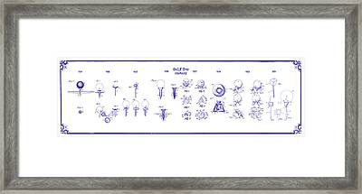 Golf Tee History Patent Drawing Blueprint Framed Print by Jon Neidert