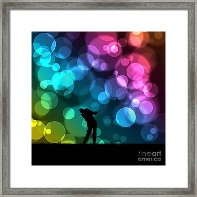 Golfer Driving Bokeh Graphic Framed Print by Phil Perkins