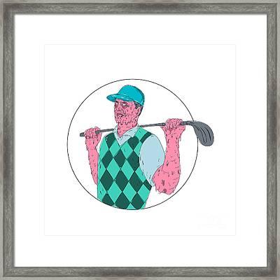 Golfer Golf Club Circle Grime Art Framed Print