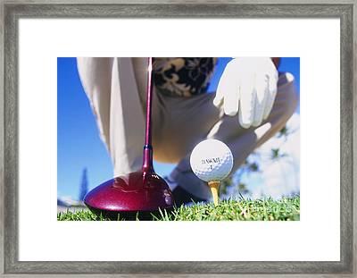 Golfer Sets Up His Shot Framed Print by Sri Maiava Rusden - Printscapes