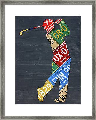 Golfer Silhouette Recycled Vintage Michigan License Plate Art Framed Print