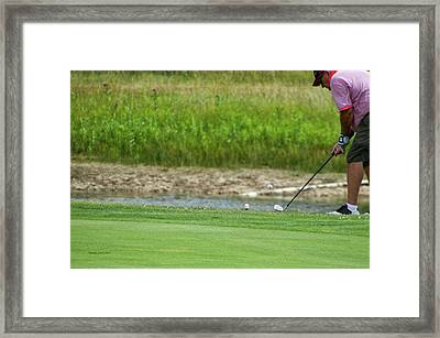 Golfing Chipping The Ball In Flight Framed Print by Thomas Woolworth