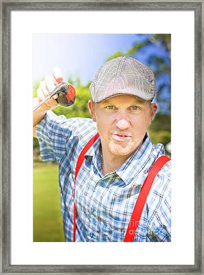 Golfing Dispute Framed Print