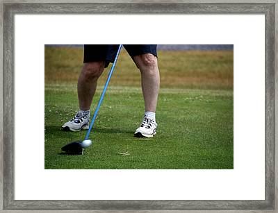 Golfing Driving The Ball In Flight Framed Print by Thomas Woolworth