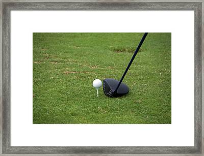 Golfing Lining Up The Driver Framed Print by Thomas Woolworth