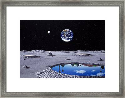 Golfing On The Moon Framed Print by Snake Jagger