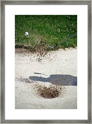 Golfing Sand Trap The Ball In Flight 01 Framed Print by Thomas Woolworth