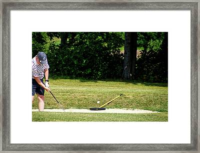 Golfing Sand Trap The Ball In Flight 02 Framed Print by Thomas Woolworth