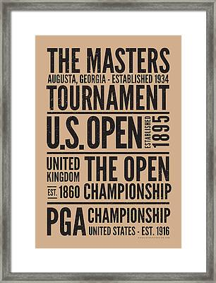 Golf's 4 Grand Slams Framed Print by Mark Kingsley Brown