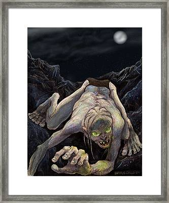 Gollum Descends Framed Print by Brian Child